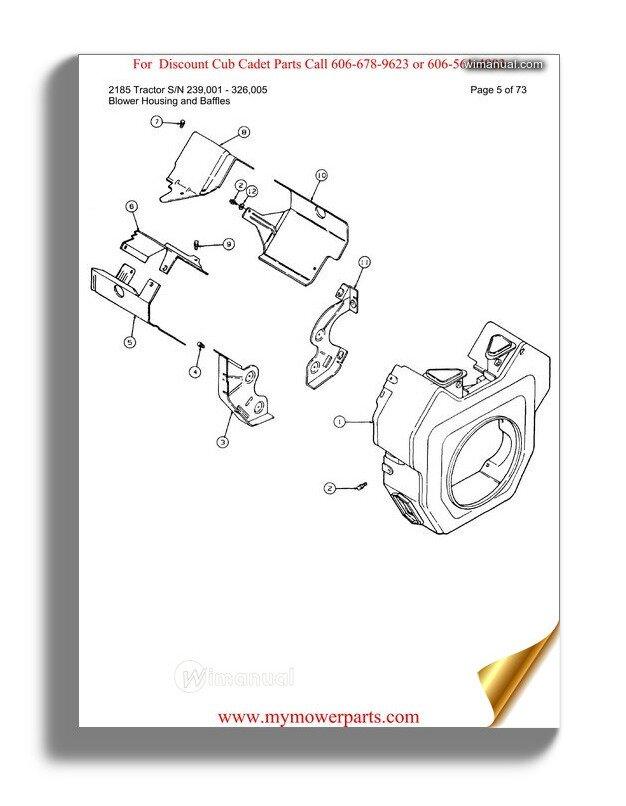 Cub Cadet Parts Manual For Model 2084 Sn 836000 864500