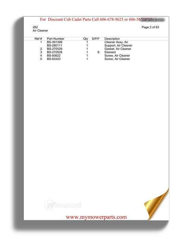 Cub Cadet Parts Manual For Model 282