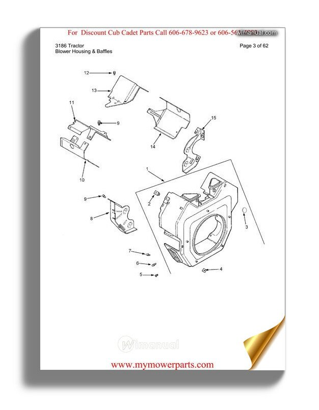 Cub Cadet Parts Manual For Model 3186 Tractor