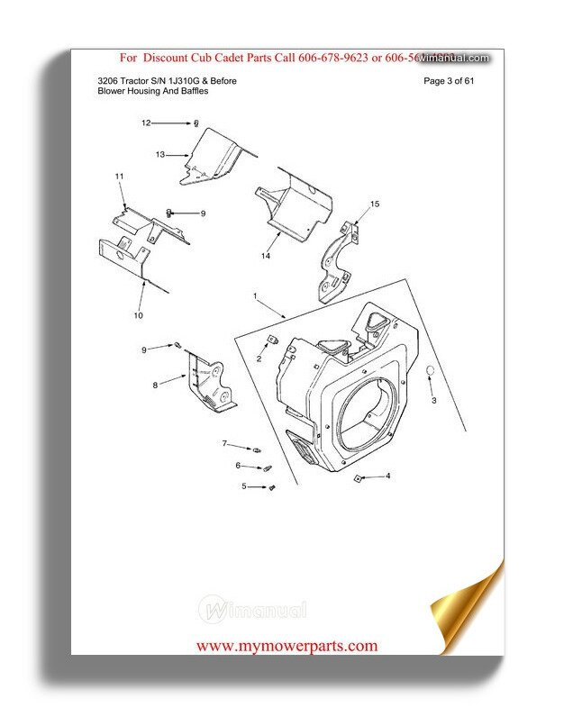 Cub Cadet Parts Manual For Model 3206 Tractor Sn 1j310g