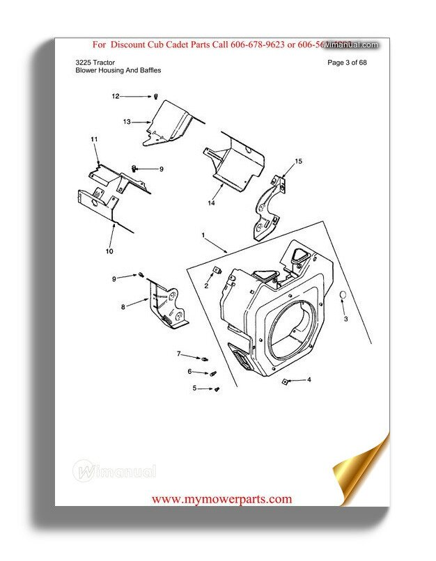 Cub Cadet Parts Manual For Model 3225 Tractor