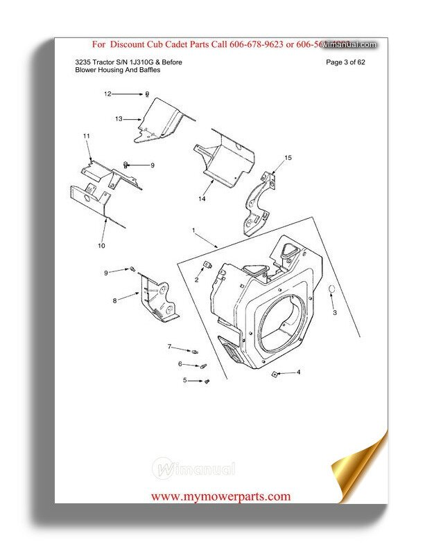 Cub Cadet Parts Manual For Model 3235 Tractor Sn 1j310g