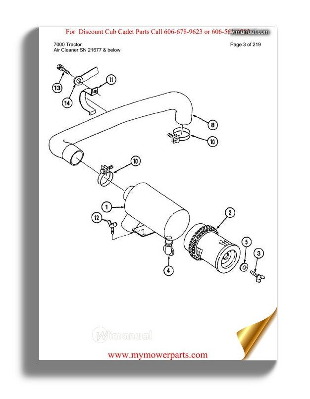 Cub Cadet Parts Manual For Model 7000 Tractor