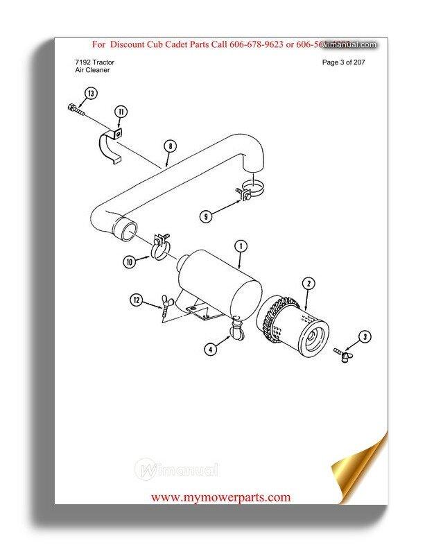 Cub Cadet Parts Manual For Model 7192 Tractor