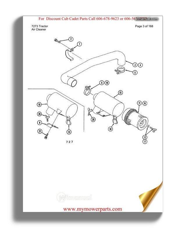 Cub Cadet Parts Manual For Model 7273 Tractor