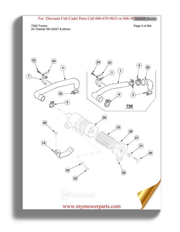 Cub Cadet Parts Manual For Model 7300 Tractor