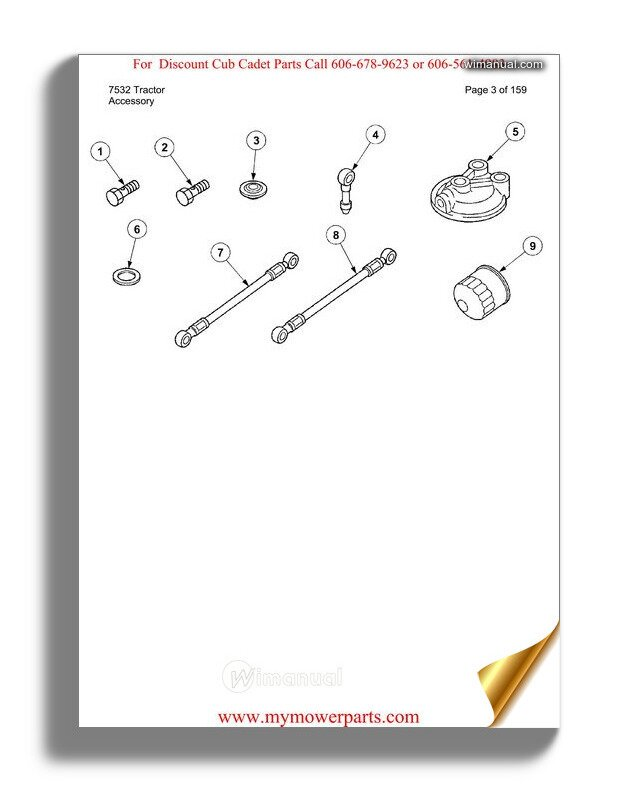Cub Cadet Parts Manual For Model 7532 Tractor