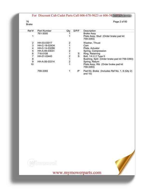 Cub Cadet Parts Manual For Model 76