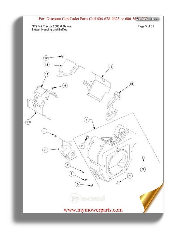 Cub Cadet Parts Manual For Model 7252 Tractor 54ag722 100