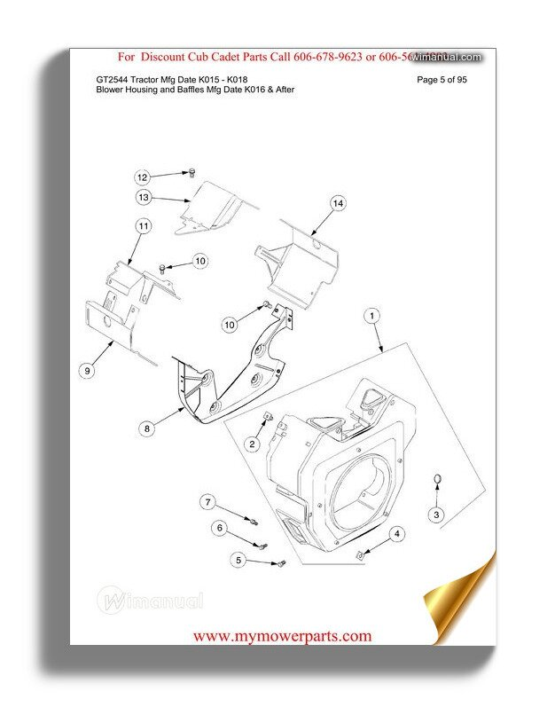 Cub Cadet Parts Manual For Model 7284 Tractor
