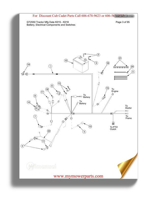 Cub Cadet Parts Manual For Model Gt2550 Tractor Mfg Date
