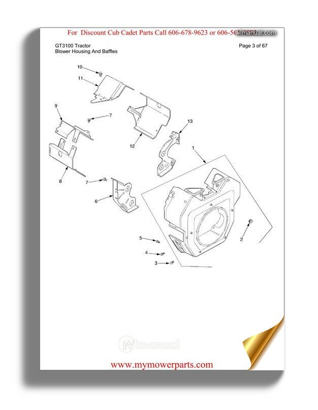 Cub Cadet Parts Manual For Model Gt3100 Tractor