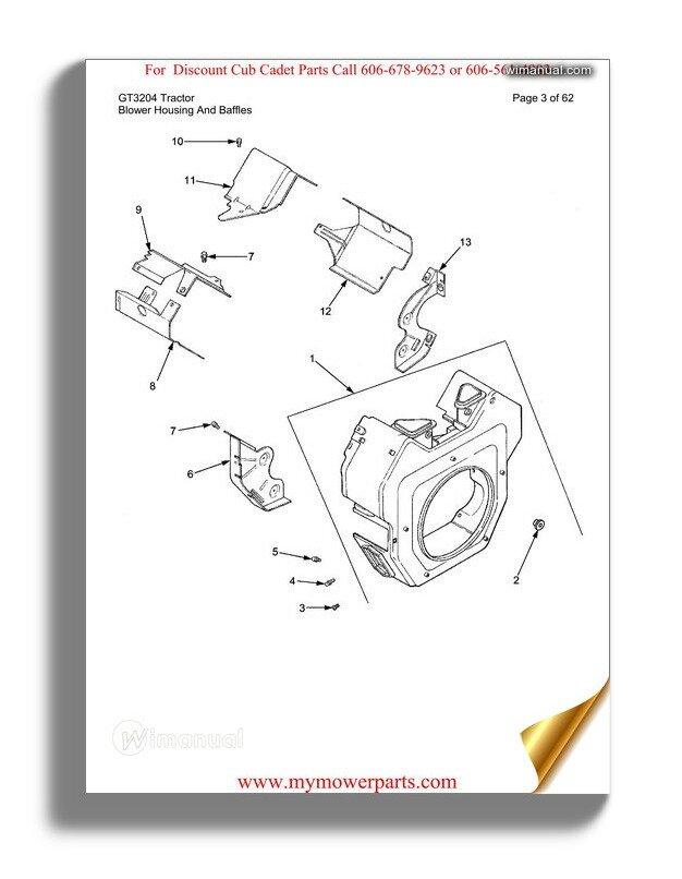 Cub Cadet Parts Manual For Model Gt3204 Tractor