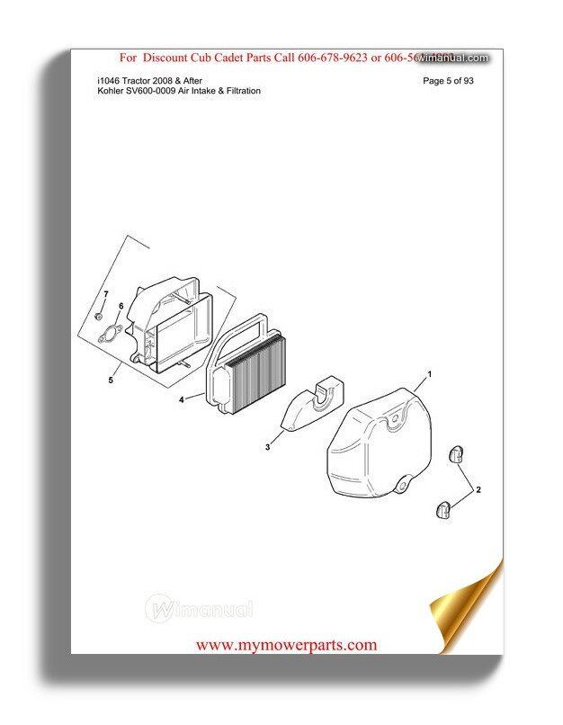 Cub Cadet Parts Manual For Model Gt2521 48 Tractor
