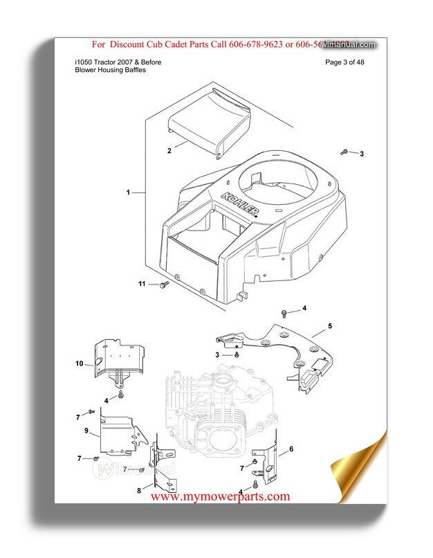 Cub Cadet Parts Manual For Model I1050 Tractor 2007 And Before