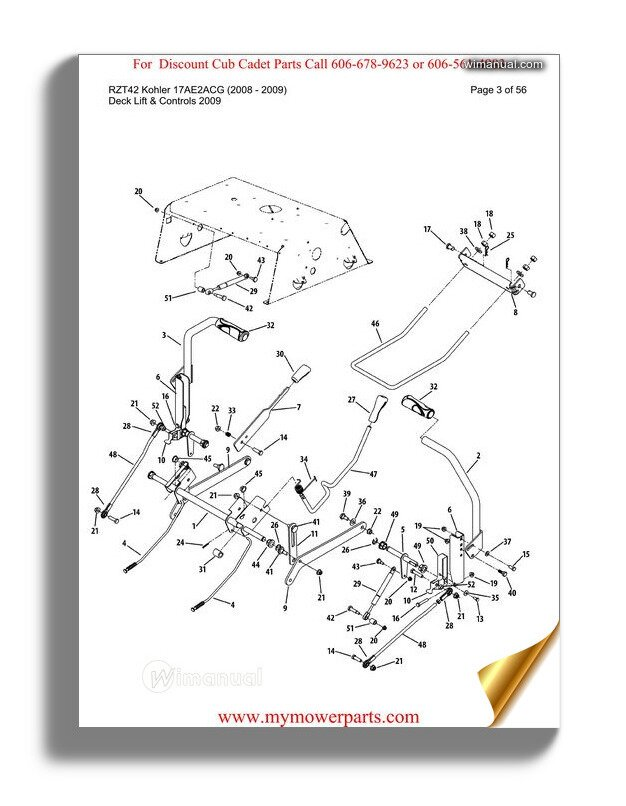 Cub Cadet Parts Manual For Model Rzt42 Kohler 17ae2acg