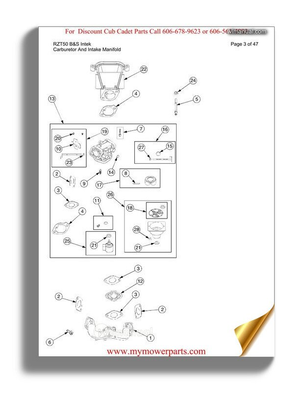 Cub Cadet Parts Manual For Model Rzt50 Bands Intek