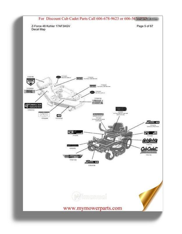 Cub Cadet Parts Manual For Model Rzt42 Kohler 17ae2acg 2010