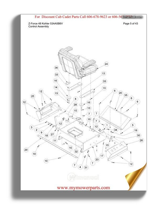 Cub Cadet Parts Manual For Model Rzt50 Kawasaki 17aa5d7p