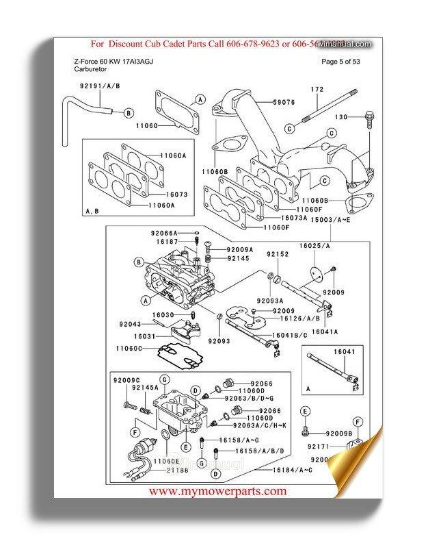 Cub Cadet Parts Manual For Model Rzt54 Kawasaki 2008 And
