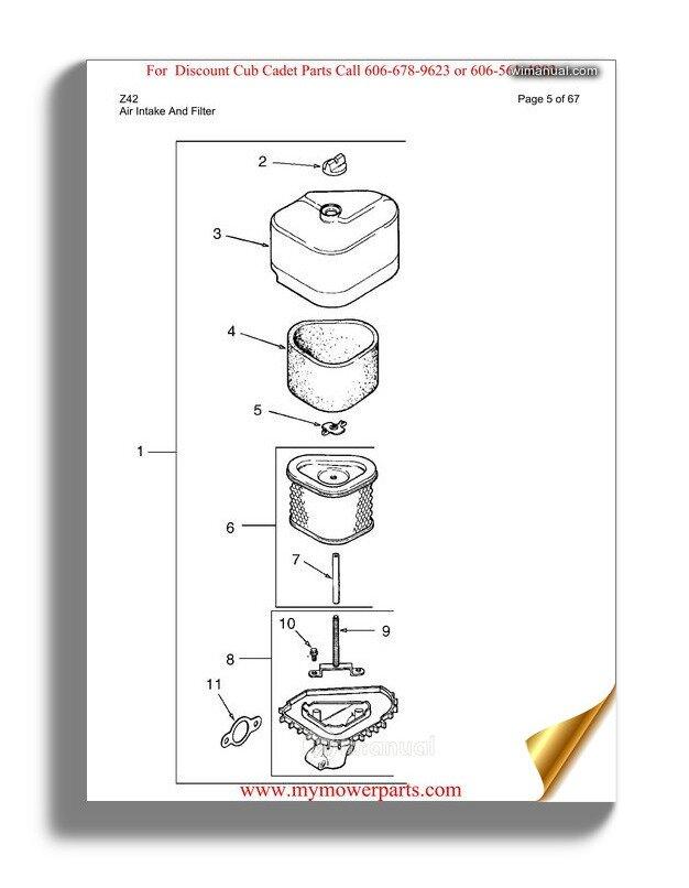 Cub Cadet Parts Manual For Model Z Force 44 Kohler 17ah3agl