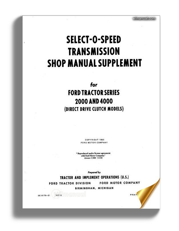 Ford Tractor Series 2000 4000 Shop Manual