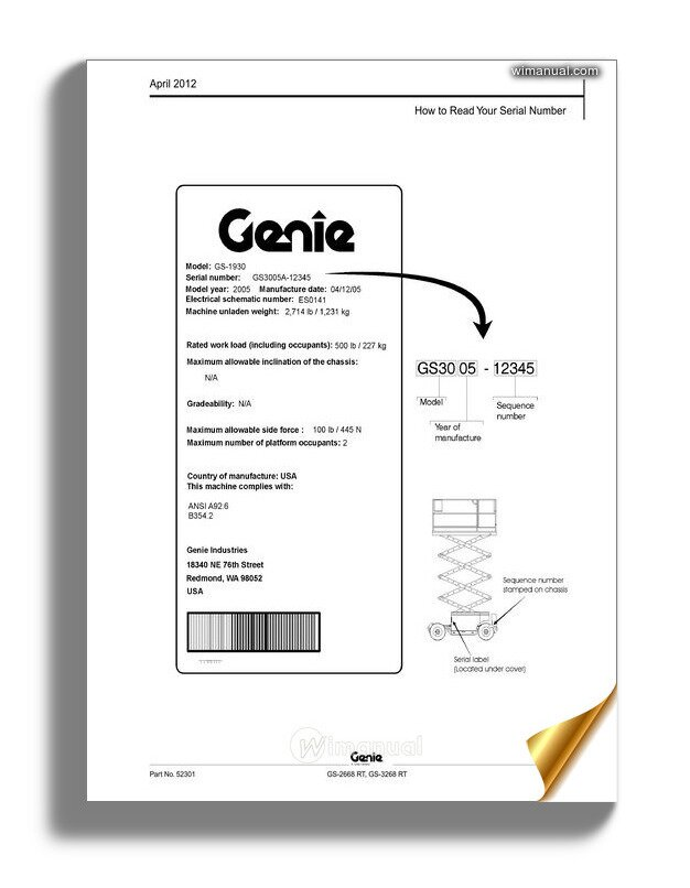 Genie Scissors Lift C Gs 2668 Rt Gs 3268 Rt To Sn 41200
