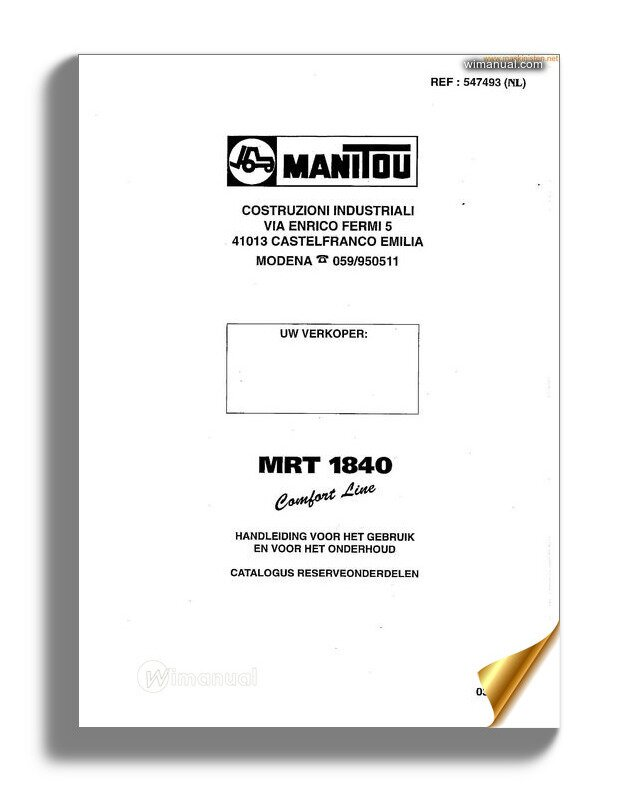 Manitou Mrt1840 Instructions Nl Parts Sec Wat