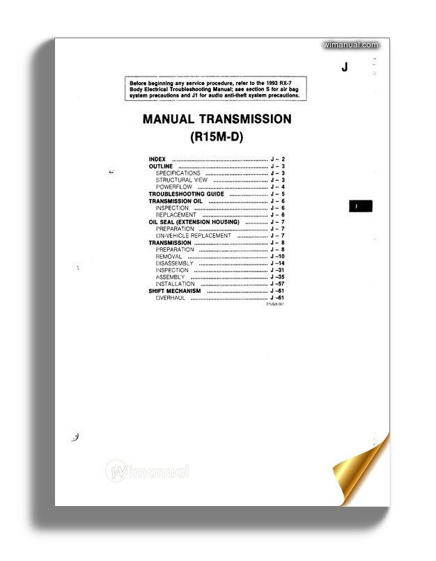 Mazda Rx7 Transmission Service Manual