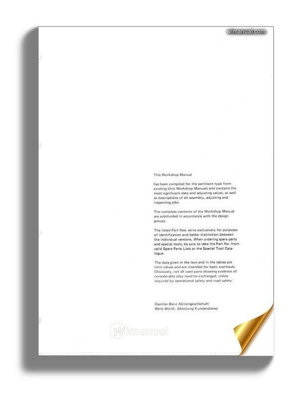 Mercedes Benz G Wagen 460 230g 115 973 Engine Workshop Manual
