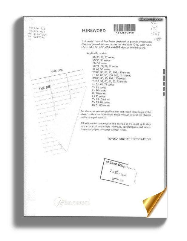 Toyota G Series Transmission Repair Manual