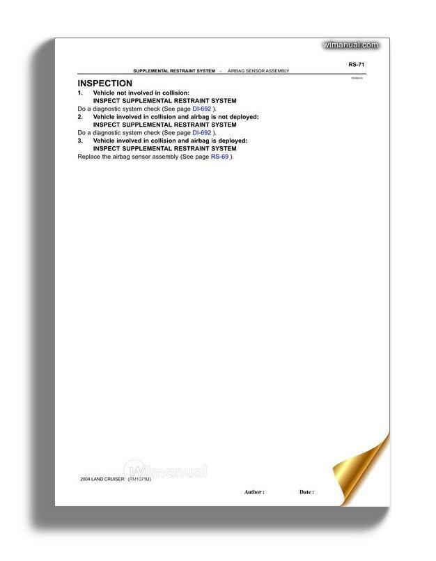 Toyota Land Cruiser 1998 2007 Srs Repair Manual