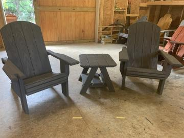 2x Adult Adirondack Chairs, 1x Standard Table - Bundle
