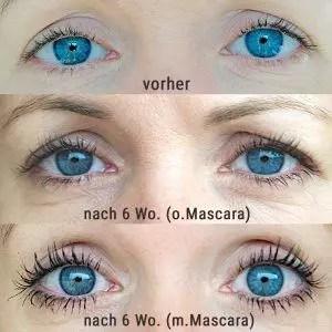Eyecatcha-Wimpernserum Vorher und Nachher