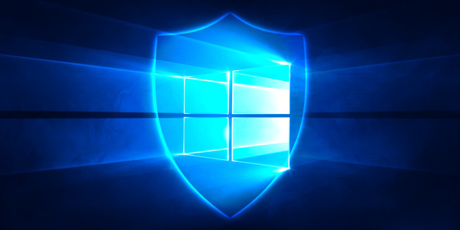 Defender shield over Win10 logo