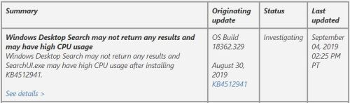 MS Ties KB4512941 To Search Issues.item