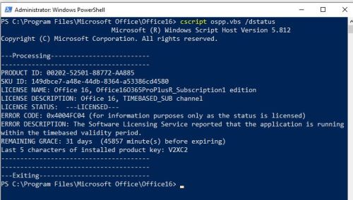 Grooming MS Office 365 Licenses & Activations.dstatus