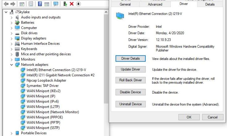 Win10 DevMgr NW Adapter info