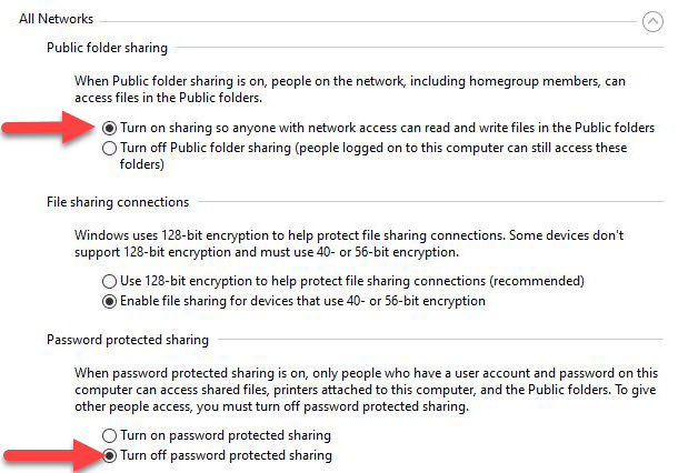 To get RDP to work, I must turn on public folder sharing and turn off password protected sharing.