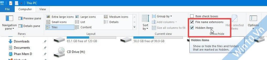 Hiện file & folder ẩn, hiện đuôi file Win 10