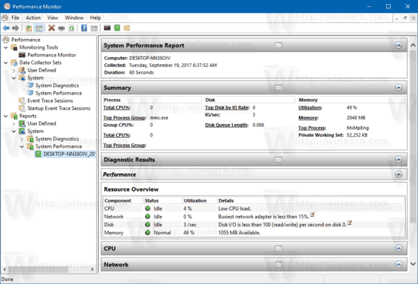 windows 10 performance report