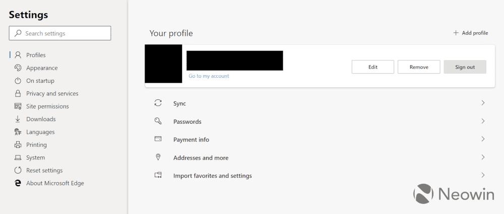 User Interface Screenshots of Chromium-based Microsoft Edge