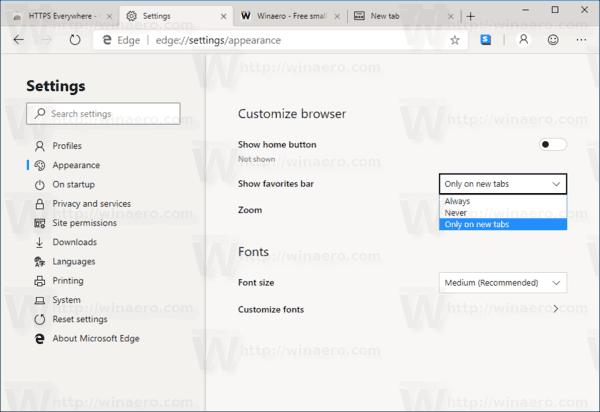 Hide or Show Favorites Bar in Microsoft Edge Chromium