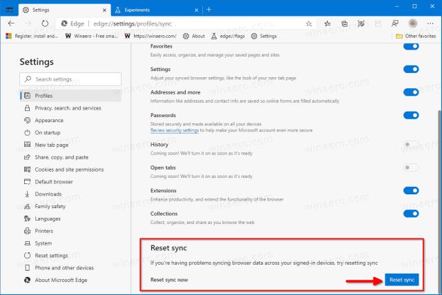 Reset Sync in Microsoft Edge and Delete Sync Data