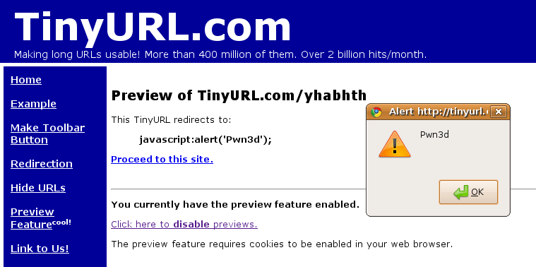 Example of TinyURL's poor handling of javascript links