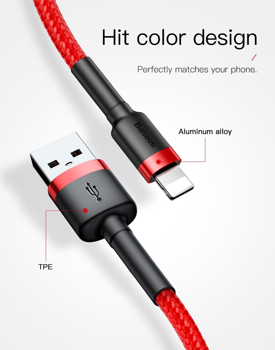 For usb lightning cable short 0.5m 1m 2m 3m fast charging data cable for iPhone xs max xr 8 7 6s plus 5s 11 pro apple ipad pro mobile phone charger Original 8 pin usb cable 2.4A Nylon braided power Bank cable Black Red
