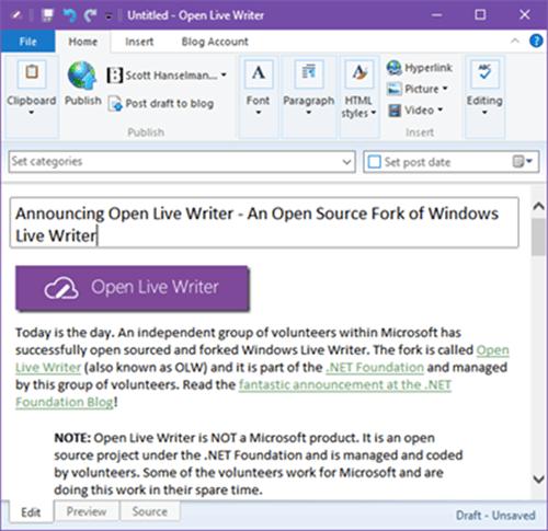 Open Live Writer: Microsoft open sources Windows Live Writer - WinBuzzer