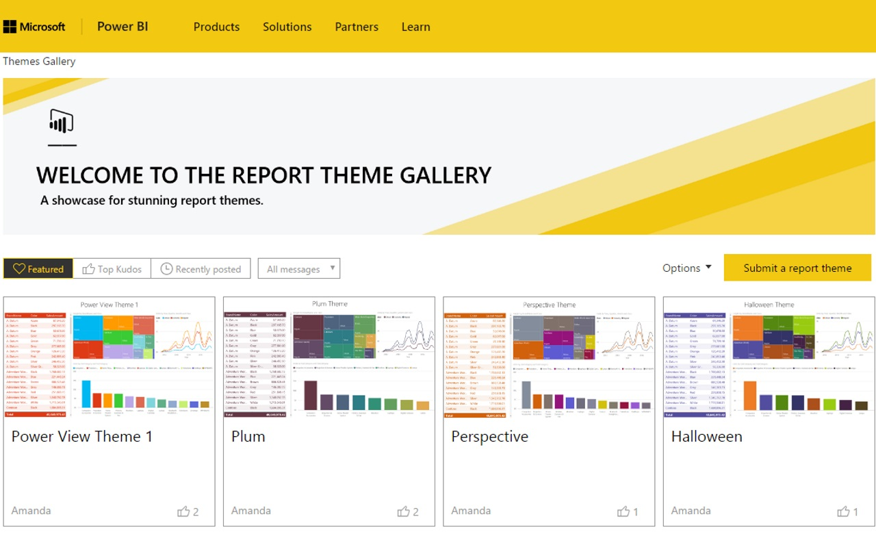 microsoft releases report theme gallery for the power bi community