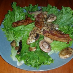 Bacon, Mushrooms, Tilapia over Romaine Lettuce Anthony R Locke Win by a Mile Buford Georgia