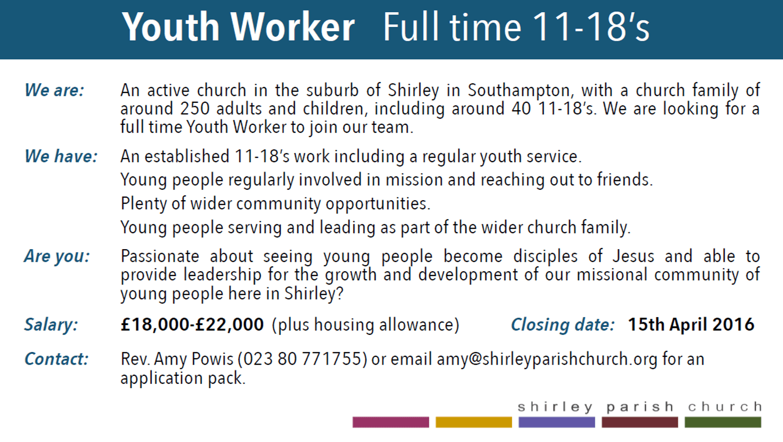 Job Alert  Youth Worker Shirley Parish Church  Families Children and Youth Blog